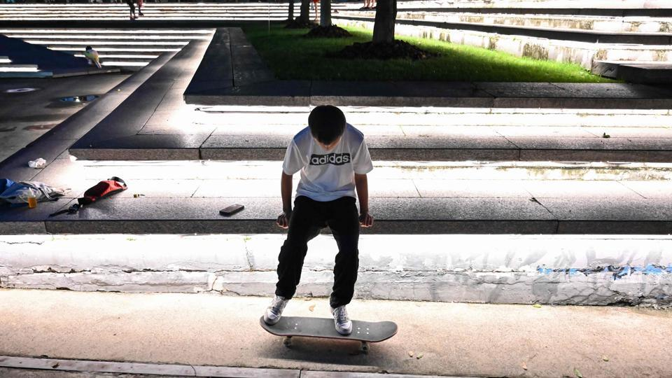 "The places are frequently busy with small children -- themselves deprived of places to run free as Shanghai modernises and residential, office and retail blocks compete for space. ""It happened this morning -- we had a small skateboarding activity in the skatepark but kids came and occupied the place,"" said the 16-year-old Guan. (HECTOR RETAMAL / AFP)"