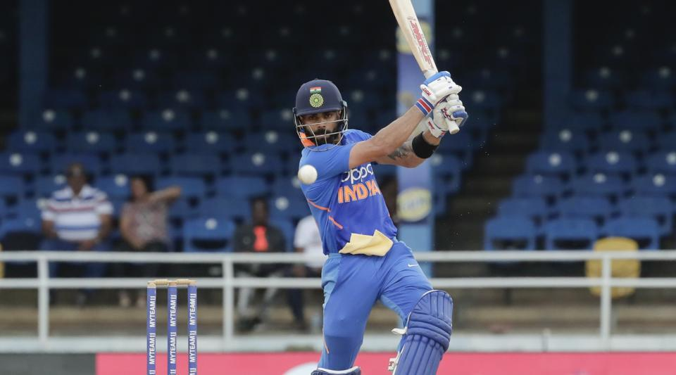 India captain Virat Kohli bats against West Indies during their third One-Day International in Port of Spain.