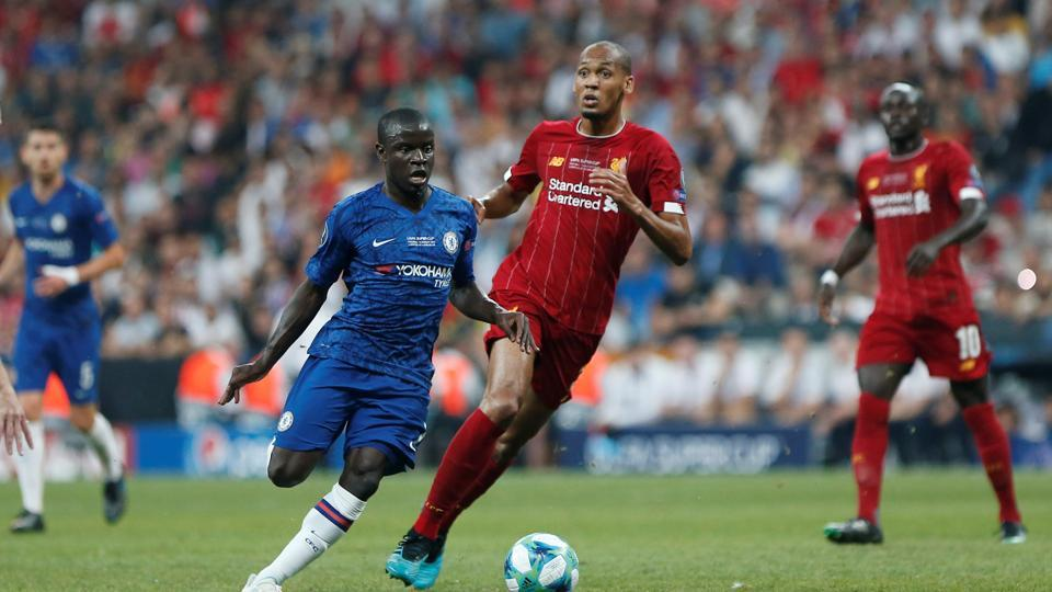 Chelsea's N'Golo Kante in action with Liverpool's Fabinho.