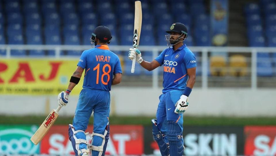 Shreyas Iyer of India brings up fifity during the third ODI between the West Indies and India