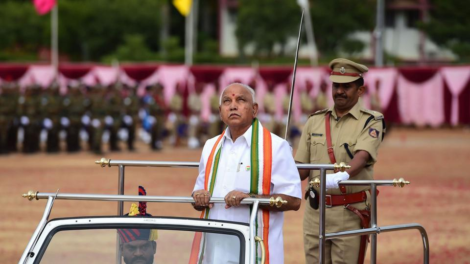 Karnataka Chief Minister B S Yediyurappa during the celebration of 73rd Independence day at Parade Ground in Bengaluru, Thursday, Aug. 15, 2019.