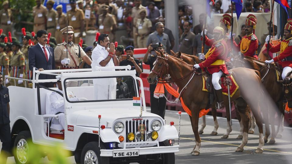 Tamil Nadu Chief Minister Edappadi K. Palaniswami reviews the parade during the 73rd Independence Day celebrations at Fort St. George in Chennai, Thursday, Aug. 15, 2019.