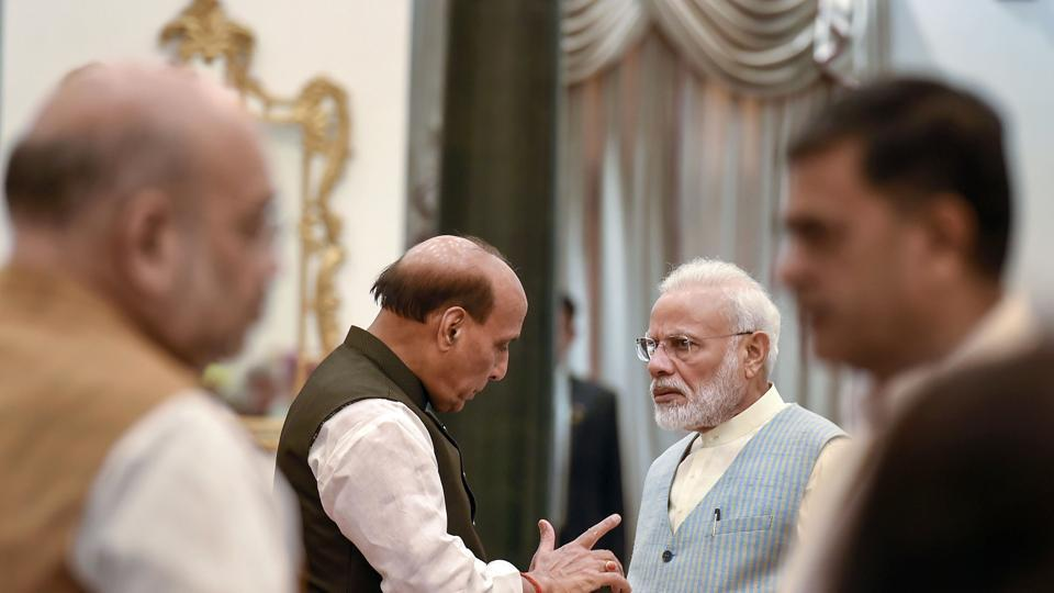Prime Minister Narendra Modi with Defence Minister Rajnath Singh during a reception organised on the occasion of 73rd Independence Day, at Rashtrapati Bhavan in New Delhi on August 15.