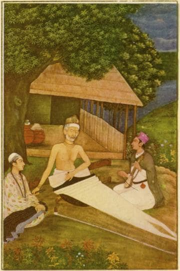Kabir (1440-1518) working as a weaver at his loom. From the Mughal School, 18th century.
