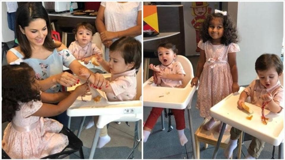 Inside Sunny Leone's Raksha Bandhan celebrations with daughter Nisha and sons Noah and Asher.