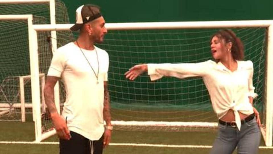 Argentine footballer Roberto Pereyra dances with Indian actress Radhika Bangia