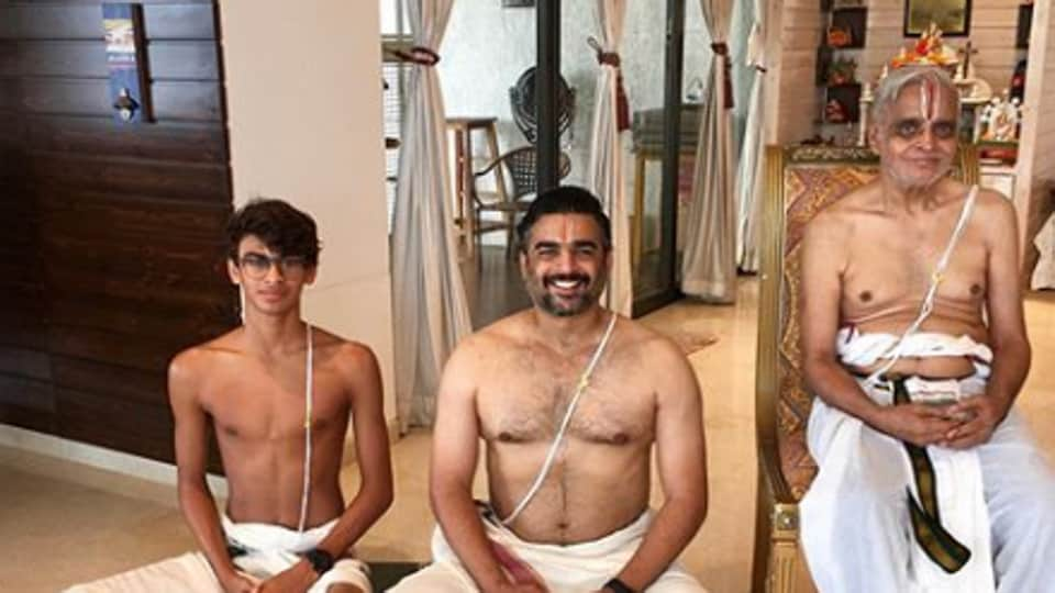 R Madhavan had shared a photo with his son and father on Instagram.