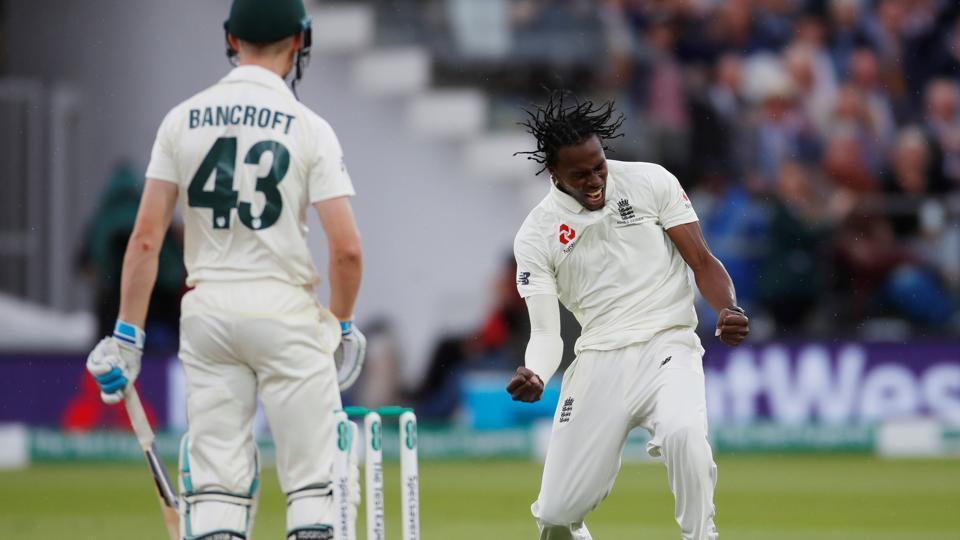 England's Jofra Archer celebrates taking the wicket of Australia's Cameron Bancroft.