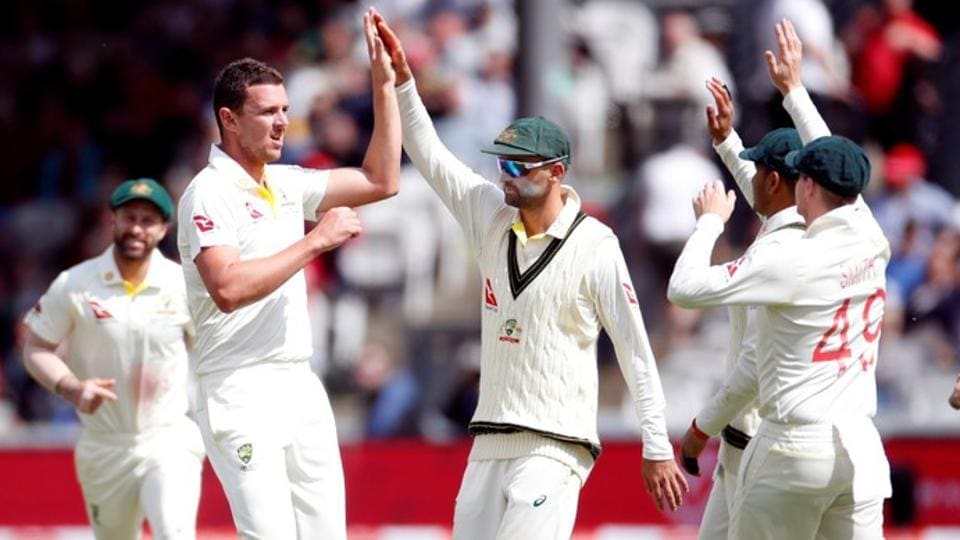 Australia's Josh Hazlewood celebrates with teammates after taking the wicket of England's Joe Denly Action Images via Reuters/Paul Childs