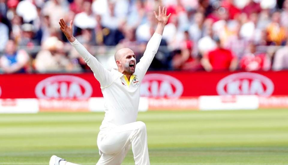 Australia's Nathan Lyon appeals for the wicket of England's Joe Denly.