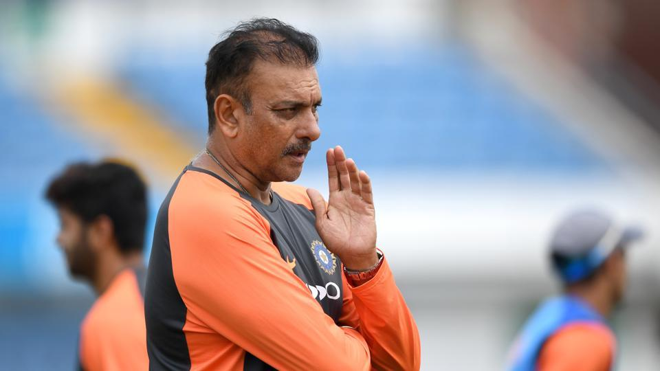 India coach Ravi Shastri during a net session.