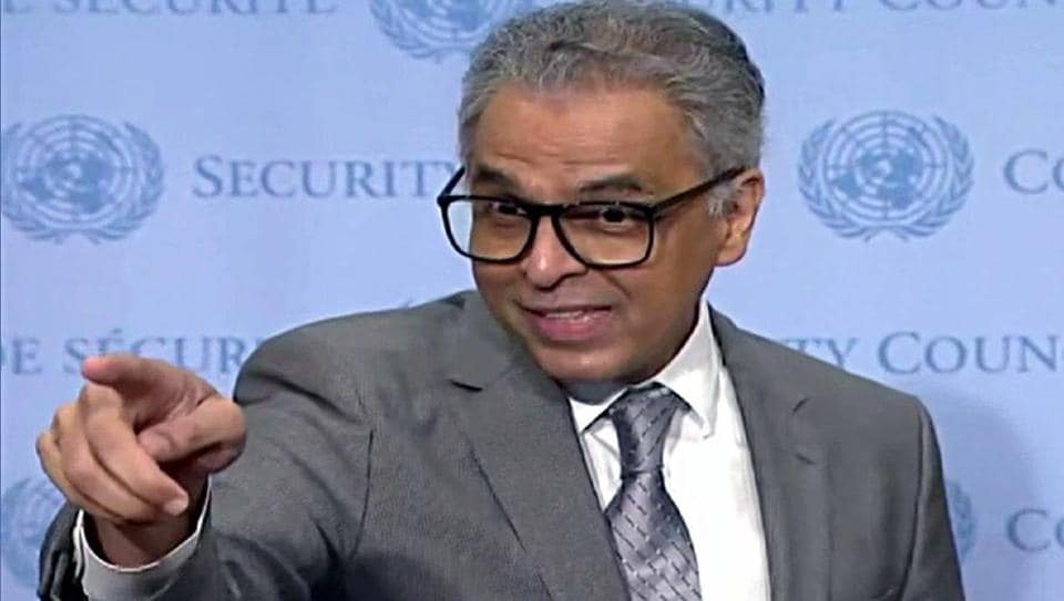 Indian Envoy to UN Syed Akbaruddin speaking on the Kashmir situation at UNSC in New York on Friday.