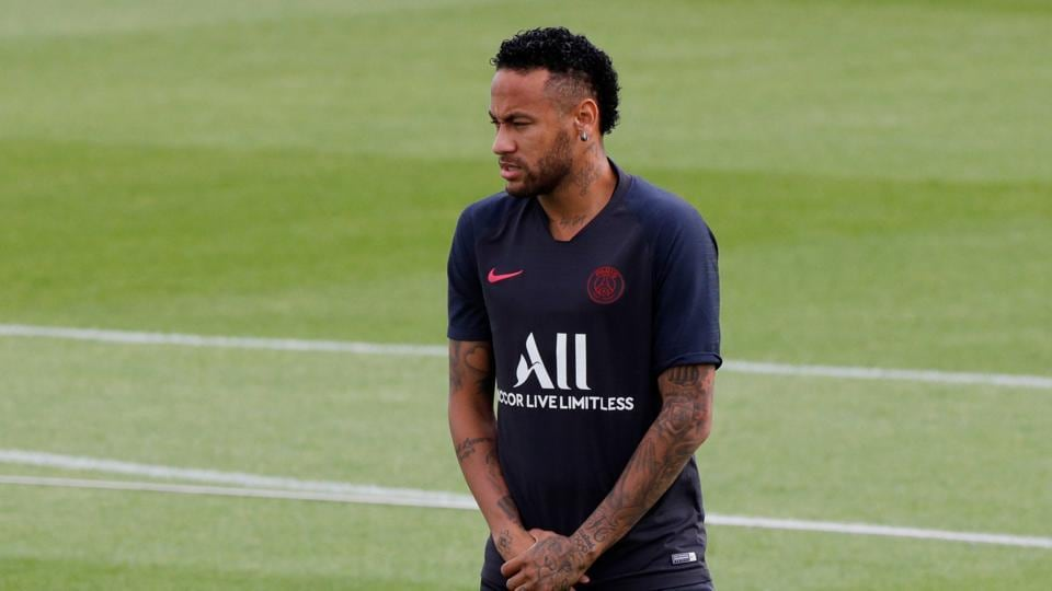 Soccer Football - Paris St Germain Training - Ooredoo Training Centre, Saint-Germain-en-Laye, France - August 10, 2019 Paris St Germain's Neymar during training