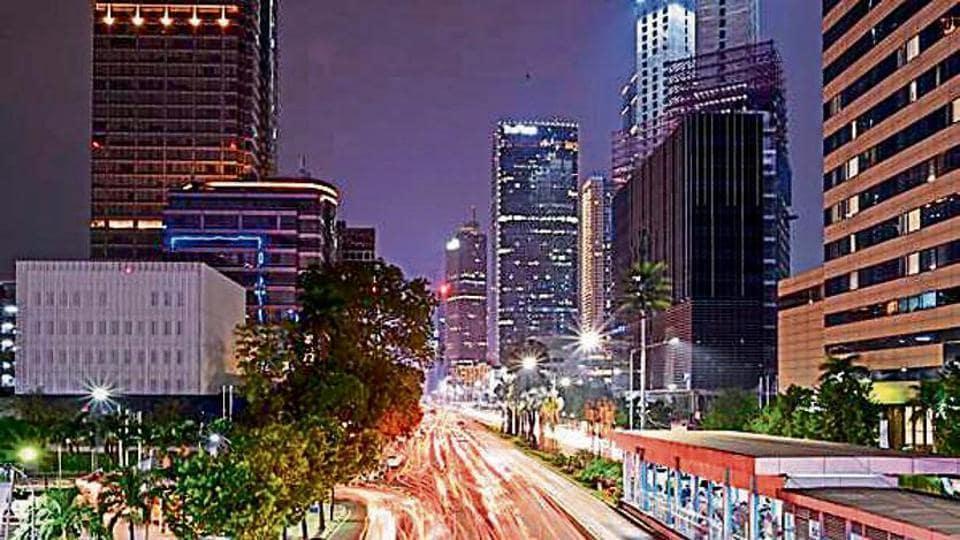 A bustling neighbourhood in Jakarta.