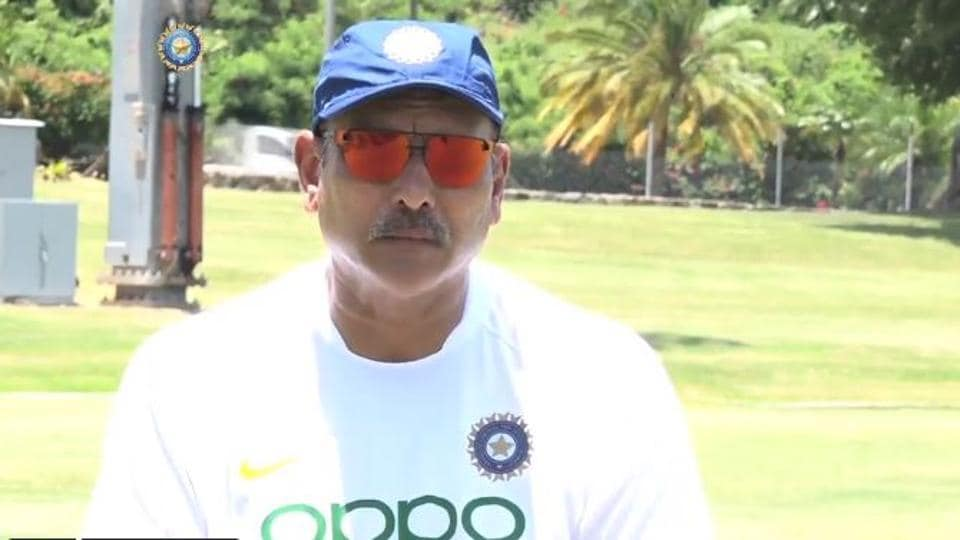 India head coach Ravi Shastri reacts after being reappointed as India head coach