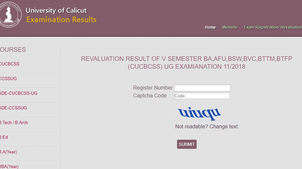 University of Calicut has declared revaluation results