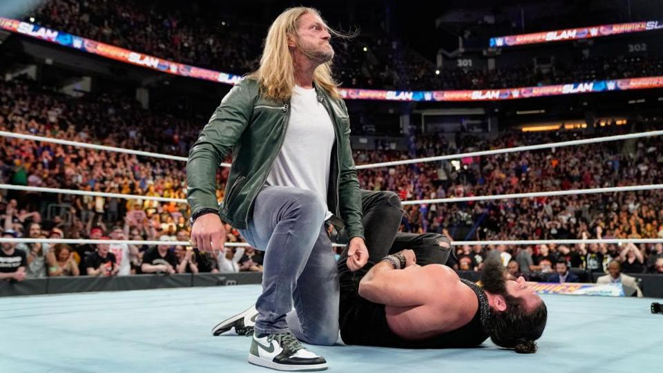 Edge lays waste to Elias at WWE SummerSlam.