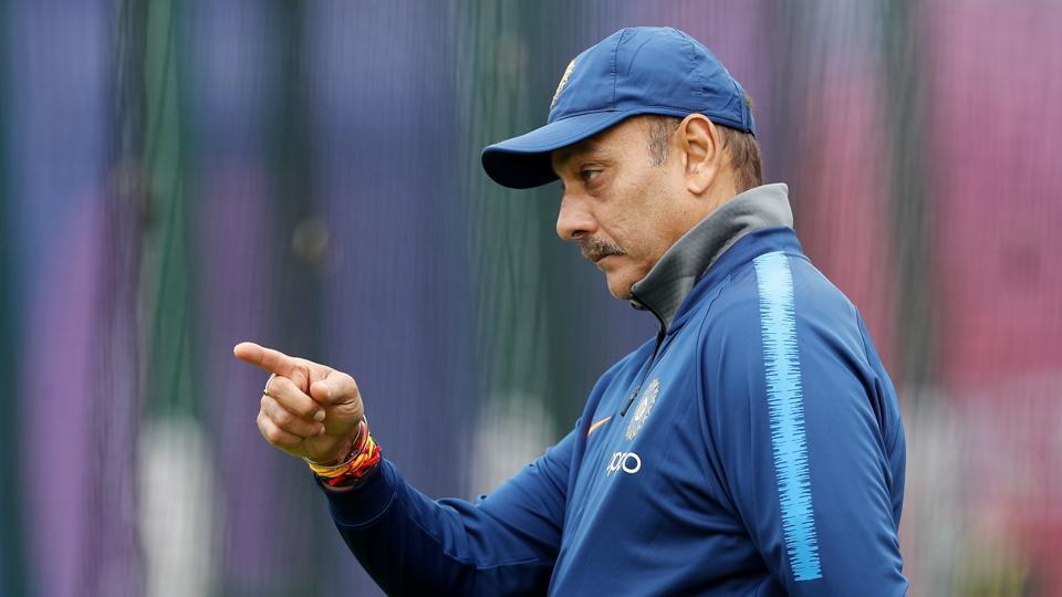 India coach Ravi Shastri during nets session at the 2019 World Cup.