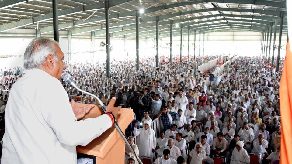Former Haryana Chief Minister Bhupinder Singh Hooda addressing the Worker's Meeting at the new Anaj Mandi in Rohtak on Sunday. August 04, 2019.