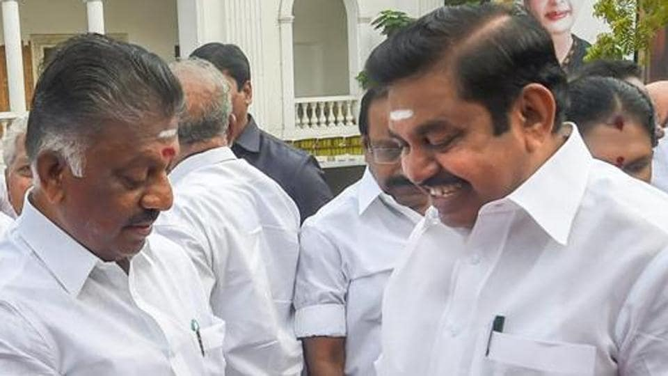 Tamil Nadu chief minister Edappadi K Palaniswami (EPS) with deputy chief minister  O Panneerselvam (OPS) in Chennai.