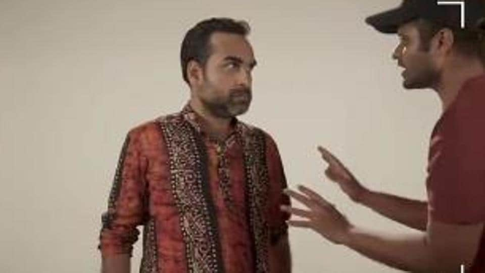 Pankaj Tripathi during the mock audition in which he tries to get into the characters of Ganesh Gaitonde and Bunty.