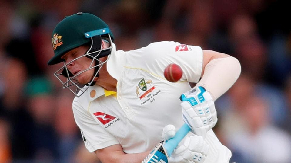 Steve Smith is hit on the neck with a ball bowled by England's Jofra Archer.