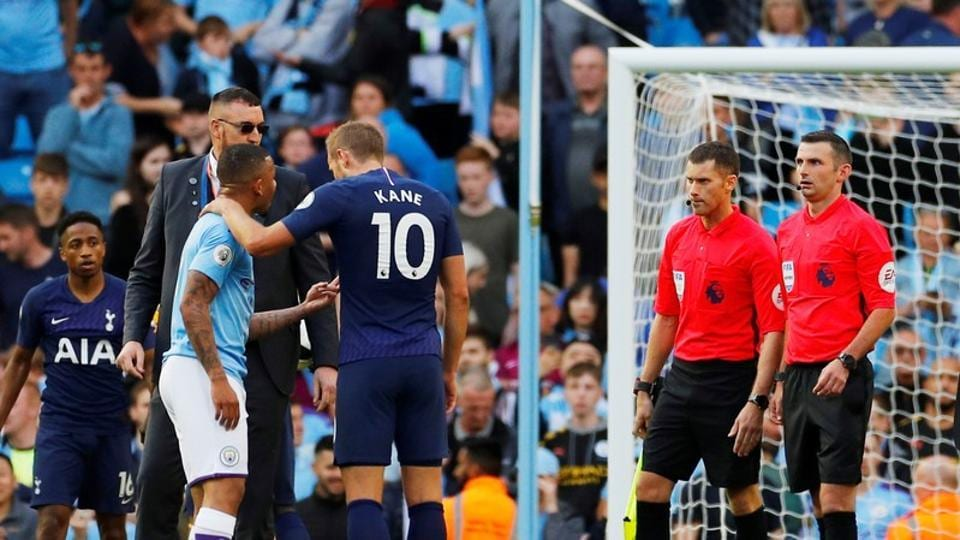 Manchester City v Tottenham Hotspur - Etihad Stadium, Manchester, Britain - August 17, 2019 Manchester City's Gabriel Jesus remonstrates with referee Michael Oliver after the match as Tottenham Hotspur's Harry Kane looks on