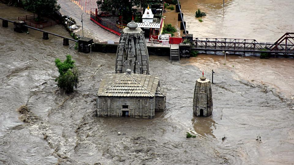 Himachal Pradesh, August 18: Ancient Panchwaqtra Mahadev temple submerged in flooded Beas river in Mandi