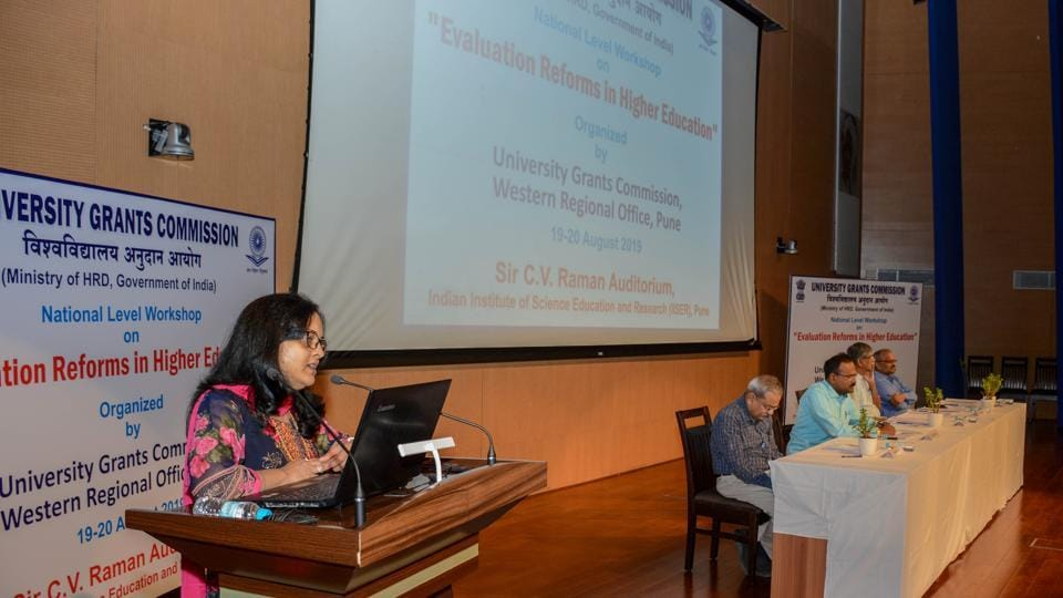 Dr. Swati Mujumdar (Pro Chancellor - Symbiosis Skills and Open University) taking part in workshop on 'Evaluation Reforms in Higher Education' at C. V. Raman Auditorium, Pune.
