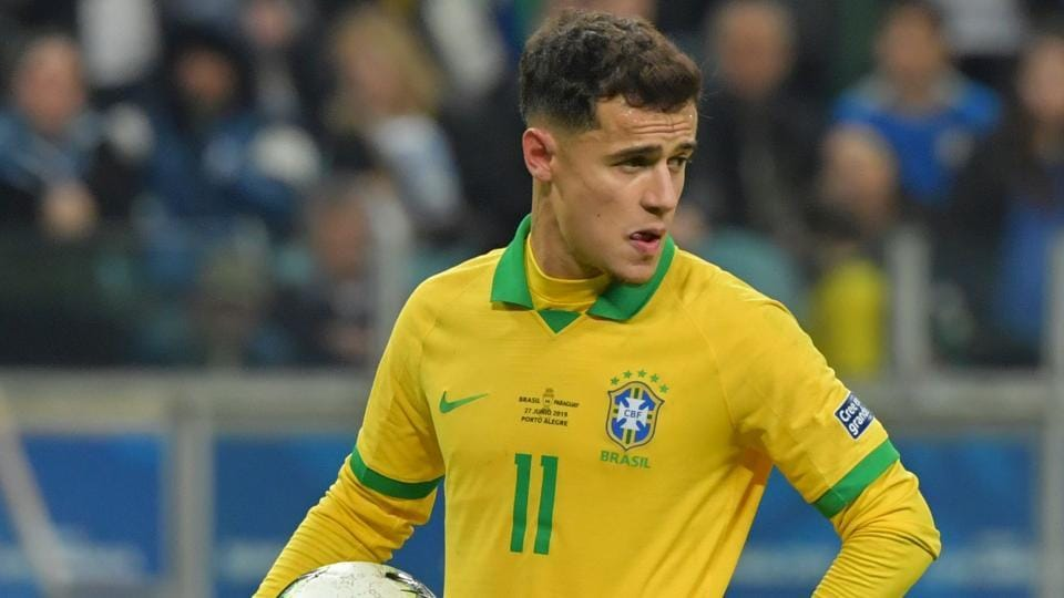 Brazil's Philippe Coutinho holds the ball during their Copa America football tournament.