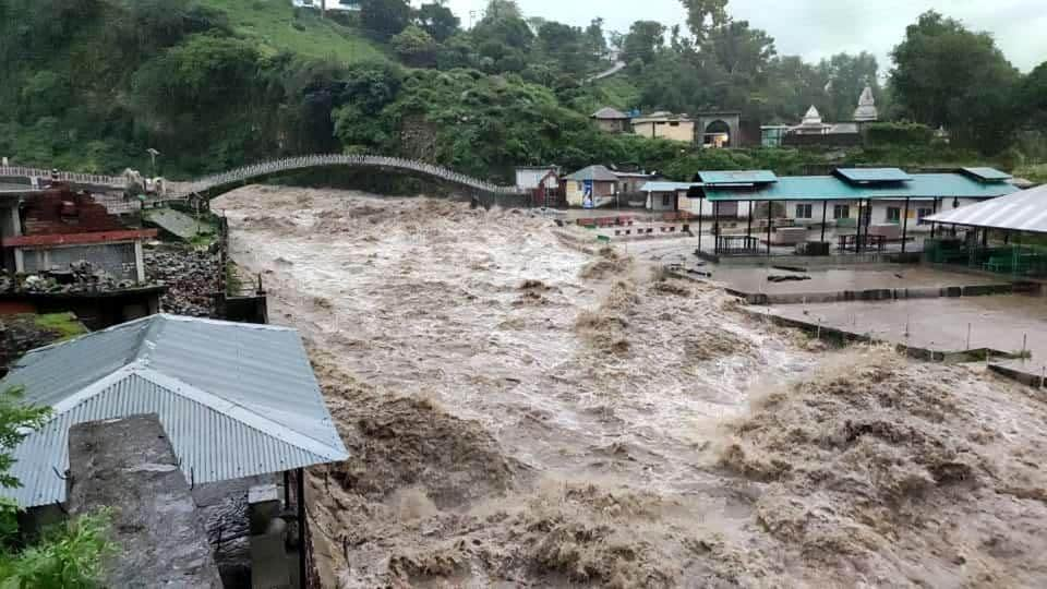 The level of Baner Khad river has risen and reached the nearby residential area at Chamunda in Kangra district, Himachal Pradesh.