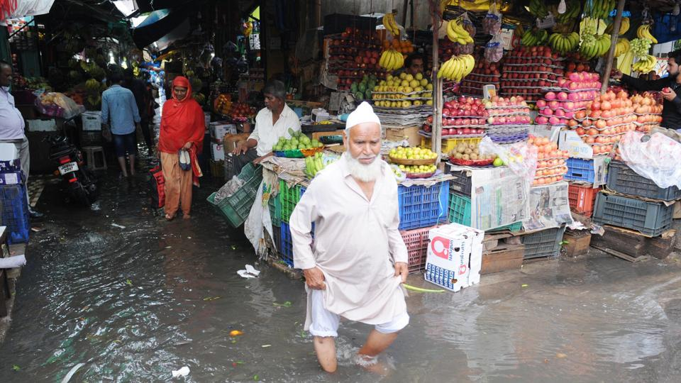 Water logging after heavy rain at a fruit market on MG road in Ranchi, Jharkhand,  Sunday, August 18, 2019.