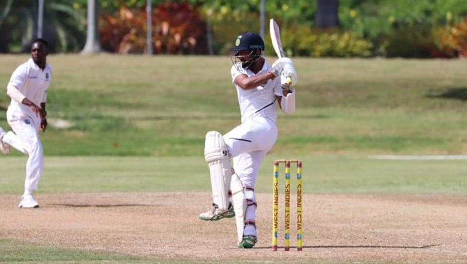 Cheteshwar Pujara plays a pull shot during India's tour game against West Indies A.