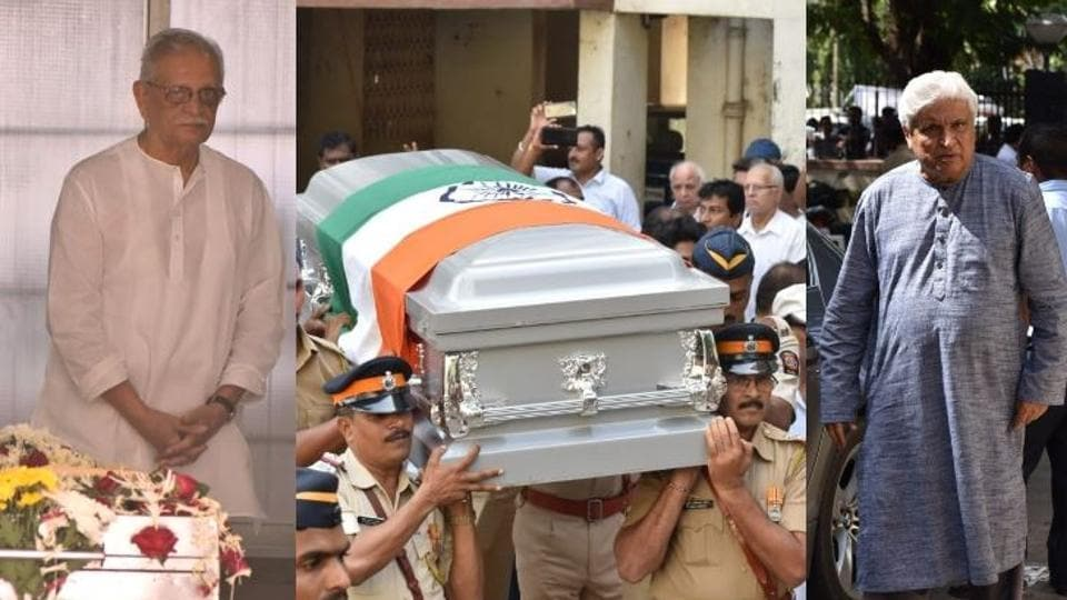 Bollywood celebrities pay their last respects ahead of Khayyam's funeral in Mumbai.