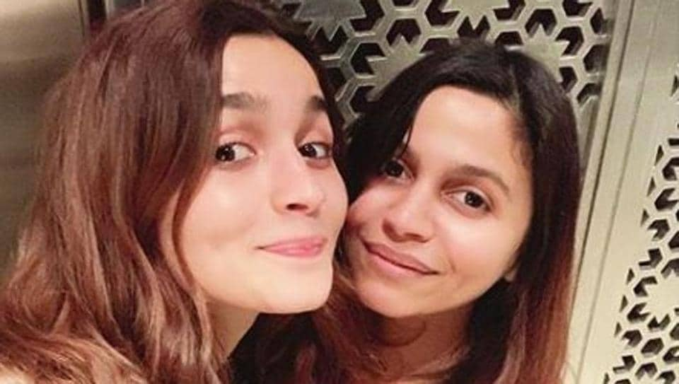 Alia Bhatt with sister Shaheen on Monday.