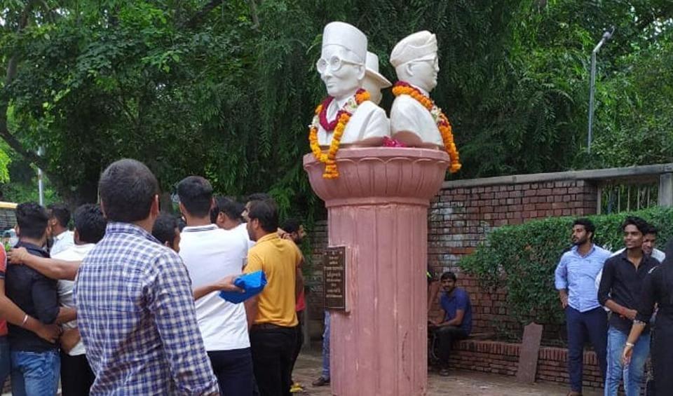 The busts of Veer Savarkar, Sardar Bhagat Singh and Netaji Subhash Chandra Bose were installed at the Delhi University's north campus on Tuesday morning.