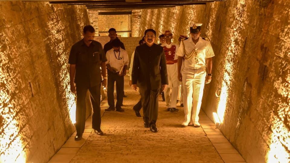 """The discovery of the underground bunker in Raj Bhavan had generated tremendous excitement among the people of Maharashtra and elsewhere in the country,"" said Ch Vidyasagar Rao, governor of Maharashtra. ""There were numerous constraints in opening the bunker. I am glad that we have not only overcome the constraints in conserving the century-old bunker, but have also created a virtual reality-assisted museum that would engage visitors with our glorious past and great future."" (Kunal Patil / HT Photo)"