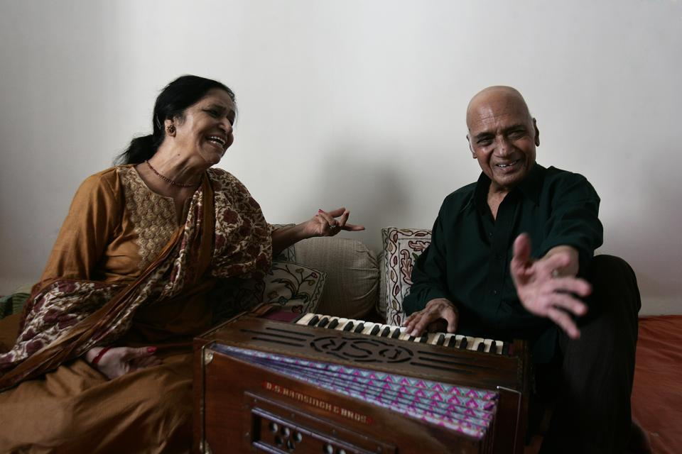 Music Director Khayyam with his wife Jagjit Kaur at his residence in Juhu.