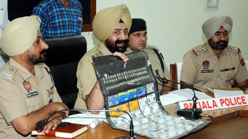 SSP Mandeep Singh Sidhu addressing the press conference at Police line in Patiala on Monday, August 19, 2019.