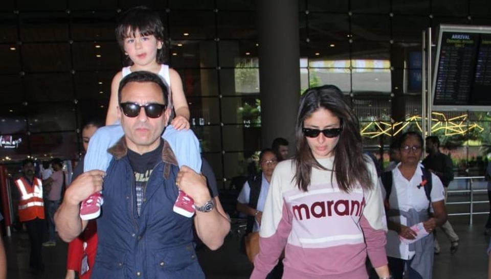 Saif Ali Khan with his wife Kareena Kapoor and son Taimur at Mumbai airport.