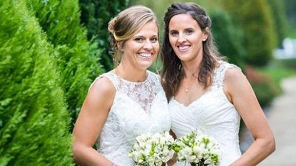 New Zealand women cricketers Lea Tahuhu and Amy Satterthwaite during their wedding