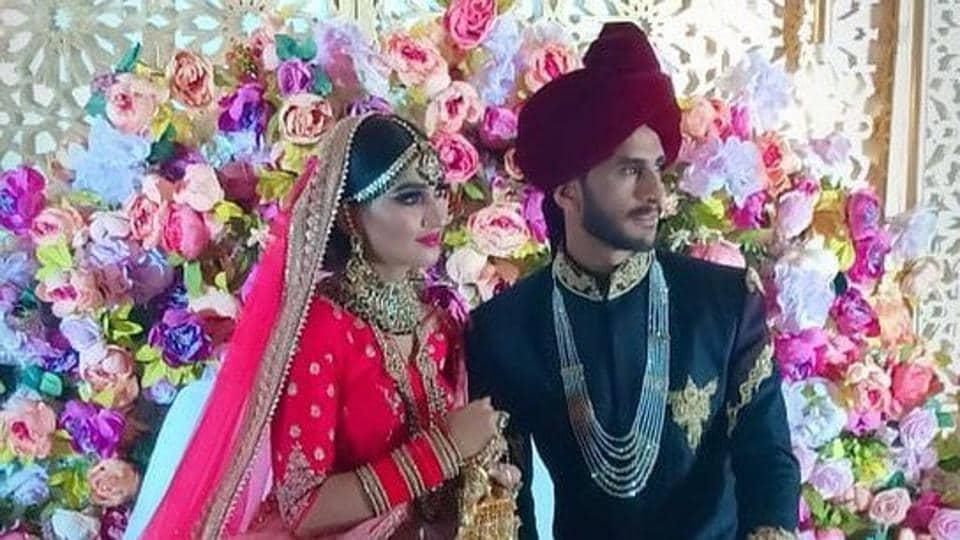 Pakistan cricketer Hasan Ali with his wife Shamia Arzoo.