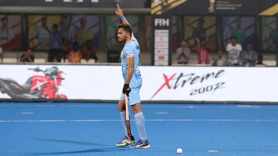 Indian hockey captain Harmanpreet Singh celebrates his goal in the final against New Zealand.