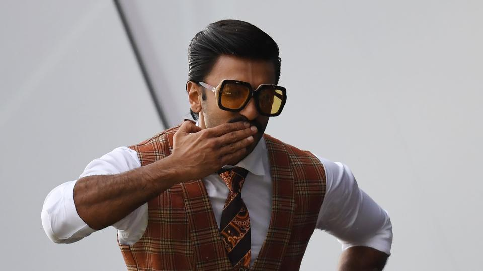 Ranveer Singh poses as he watches play during the 2019 Cricket World Cup group stage match between India and Pakistan at Old Trafford in Manchester on June 16, 2019.