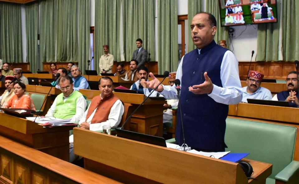 Chief minister Jai Ram Thakur addressing the House on the third day of monsoon session, in Shimla on Wednesday.