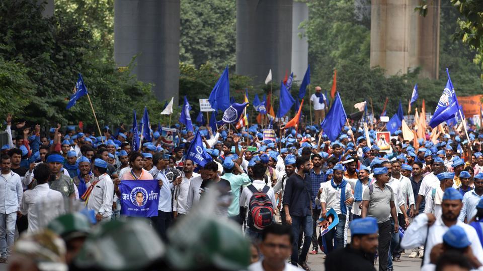 Chandrashekhar Azad Ravan, founder of Bhim Army, along with his supporters lead a march towards Ramlila Maidan in protest for the demolition of Guru Ravidas Temple in Tughlakabad few days back, at Panchkuian Marg, in New Delhi.