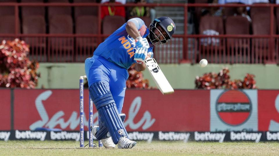 India's Rishabh Pant hits out to score the winning run against West Indies.