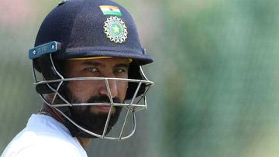 Cheteshwar Pujara in action during the Test encounter against West Indies.