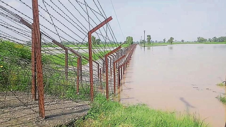 An inundated stretch along the fence on the Indo-Pakistan border in Ferozepur