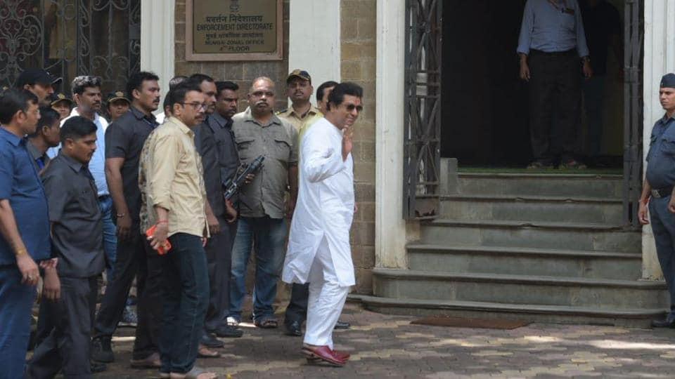 Maharashtra Navnirman Sena (MNS) chief Raj Thackeray arrives at the ED office on Thursday.
